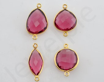 Pink Tourmaline Quartz Gold Plated Sterling Silver Bezel Station Connector, 1 piece