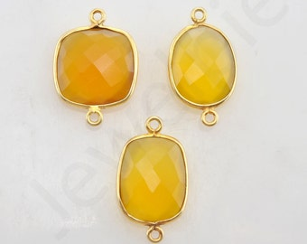 Yellow Chalcedony Gold Plated Sterling Silver Bezel Station Connector and Charm, 1 piece