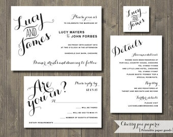 Printable Wedding Invitation Set - Invite, RSVP Card, Details Card and Monogram - Lucy