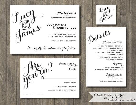 to printable wedding invitation set invite rsvp card details card