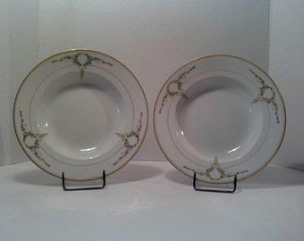 Soup Bowls 2 Victorian 19th Century Ridgways England Logue Pattern Royal Semi Porcelain Hand Numbered