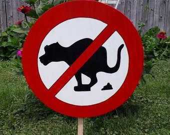No Dog Poop Sign Outdoor Wood Yard Art Lawn Decoration