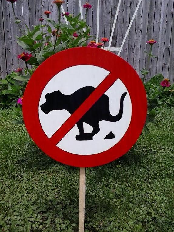 No Dog Poop Sign Outdoor Wood Yard Art Lawn Decoration