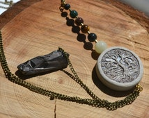 Tree of Life Chakra Aligning Natural Gemstones Body Chain with Rough Quartz Crystal Pendulum CUSTOM SIZING