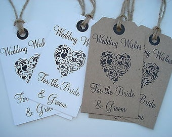 16 Vintage/Rustic/Shabby Chic style wedding wish tree tags