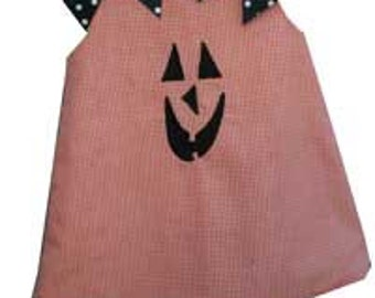 Girls Jack o lantern Dress,Girls Halloween Dress,Applique Embroidered Aline Dress