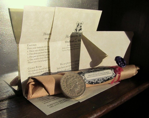 "Mini Harry Potter Hogwarts Letter & Wand for American Girl 18"" Doll Magic Miniature Witch Wizard Hermione Dumbledore Unique Stocking Stuffer"