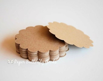 24 Kraft Scalloped Circles 3 inch