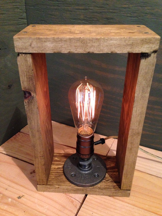 Industrial Lamp-Rustic Table Box Lamp-Steampunk Reading Desk