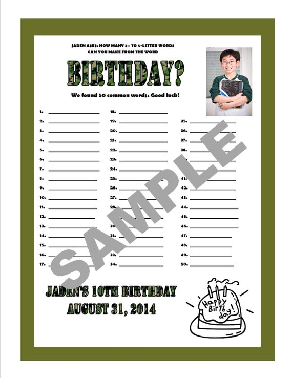 How Many Words Can You Make From Birthday By