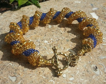 REDUCED! Cellini Spiral Bracelet in Royal Blue and Gold