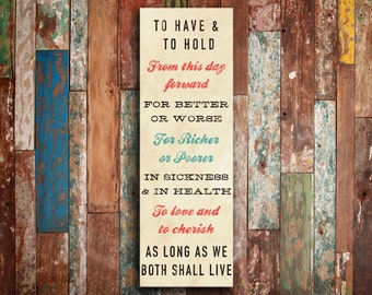 """WEDDING VOW Subway Art, Wedding, Anniversary, Typography Poster, Bus Scroll, Rolled or Framed Canvas (20"""" x 60"""")"""