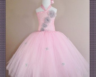 Exquisite Pink and Silver Tutu Flower Dress