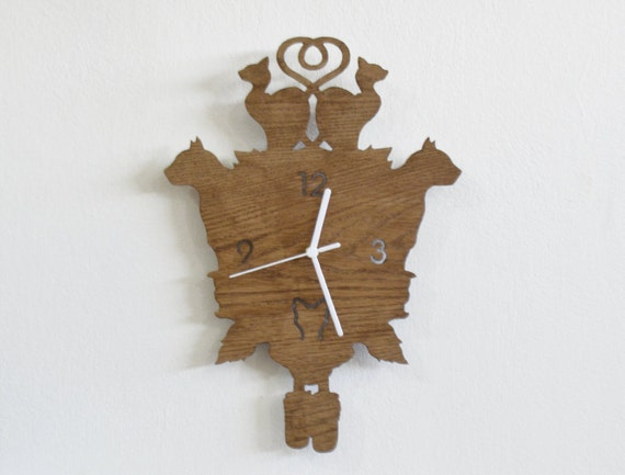Cats Modern Cuckoo Clock Wooden Wall Clock
