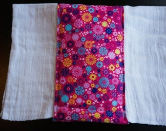 Pink Flowers Burp Cloth