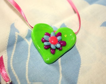 Flowery Green Heart Necklace