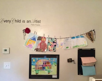 Kids artwork display; wall decal; Every Child is an Artist Pablo Picasso quote wall vinyl