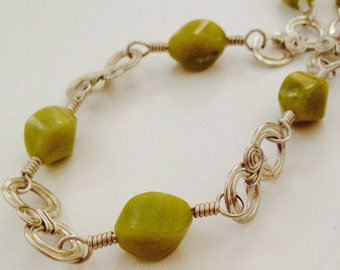 New Jade Oval Swirl with Silver Accents Necklace