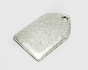 Tablet Shaped Mini Blank Metal Tags for Stamping, 17mm Blank Tag, Made in the USA, Silver Plated, #N112