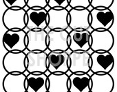 The Around My Heart Cut File consists of overlapping Circles, with several hearts throught the design.  This is a 6x6 cut file.
