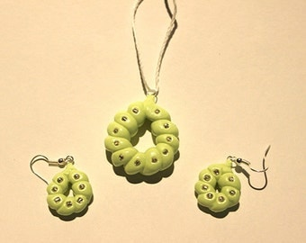 Polymer Clay Green Earrings and Pendant