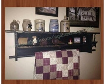 Handmade primitive wall quilt rack with center and top shelf, Rustic Decor