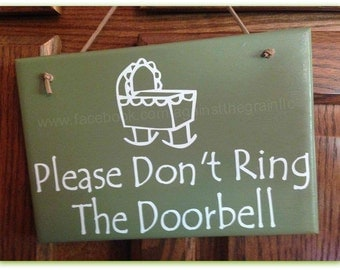 Please dont ring doorbell, Handmade wooden front door-porch sign to let everyone know baby is sleeping, Great baby gift for new mothers