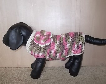 Newly Crochet Pink Camo Sweater with Flower Dog Clothing Yorkie Chihuahua Terrier Small S