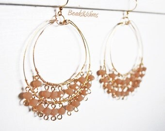 Circle colored beads earrings