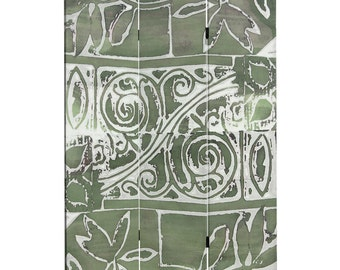 Canvas Room Divider Screen Green Oliva Collage Partition