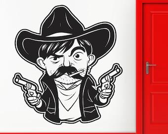 Wall Stickers Vinyl Decal Cowboy Weapons Revolver Gun Hat z1171