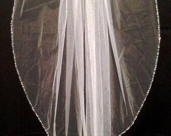 Wedding Beaded Edge Veil, Bridal Crystal Edge Veil, Pearl Edge Wedding Veil, Sequin Edge Veil, Rhinestone Edge Veil, 1 Tier Wedding Veil