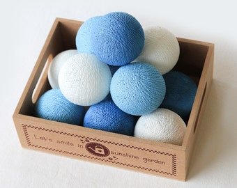 20 Loose Cotton Balls NOT INCLUDE String Lights, Patio Party, Outdoor, Fairy, Wedding Lights - Ocean Blue
