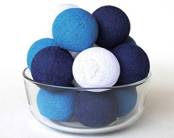 Blue Tone Cotton Ball String Lights for Bedroom Baby room Wedding Birthday Party Fairy Patio Decor Night Lights