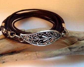 Boho Wrap Bracelet, Wrap Bracelet, Charm Wrap/Wax Cord Bracelet/ Boho/ Silver Leaf/ Chocolate Brown/Wrap Bracelet