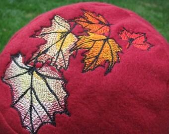 Fall Leaves Red and Orange Fleece Ear Flap Hat