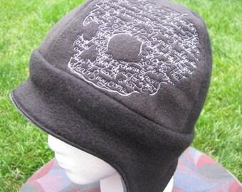 Shakespeare Hamlet Skull Design on Gray and Black Fleece Ear Flap Hat