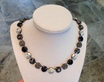 12mm swarovski crystal necklace black, grey, and crystal - Show Stopper