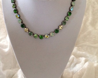 8mm swarovski crystal necklace -many green shades - SHAMROCK