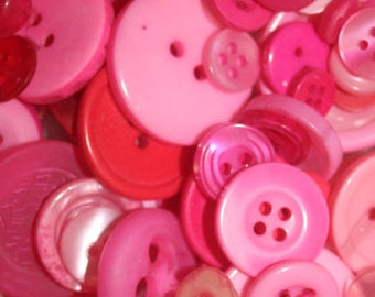 Perky Pink Button Mix, 50g, mixed buttons, pink buttons, assorted buttons, crafts, sewing, knitting, textile crafts, crochet