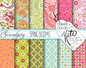 INSTANT DOWNLOAD: Serendipity Paisley Digital Paper Set - Spring Blooms Collection