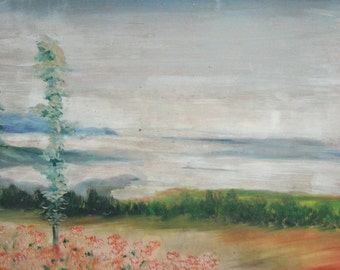 Vintage Impressionist Oil Painting Landscape,Signed
