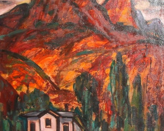 Expressionism Mountain Village Vintage Oil Painting Signed