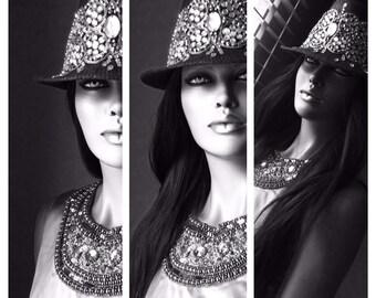 Rhinestone Stylish Haute Couture Fedora Hat