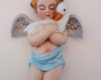 Gorham Wall Hanging Bisque Porcelain Cupid with Goose Item G 1651 Cupid Enchantments, Gift For Her