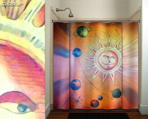 Whimsical sun planets space solar system shower curtain kids for Solar system fabric panel