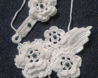 Handmade, crochet gorgeus necklace and bracelet set, Irish crochet lance.