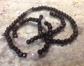 108 Wrist Wrap Mala Dark Brown Beads 8mm Stretch