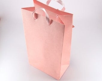 15 SMALL Pink Paper Favor Bags with Handles - Party Gift Bags - Wedding Favors - Bridal Shower - Baby Shower Party Bags