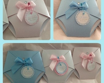 10 Pearlescent Handmade Nappy Baby Shower/ Christening Invitations